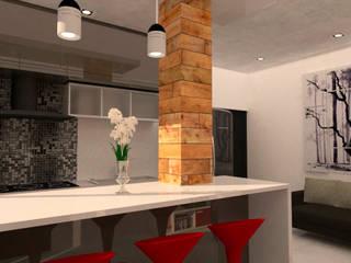 Departamentos GB: Cocinas pequeñas de estilo  por Bocetos Studio Aquitectos, Moderno