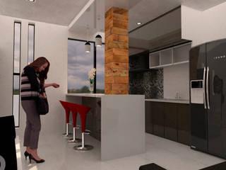 Departamentos GB: Cocinas pequeñas de estilo  por Bocetos Studio Aquitectos, Minimalista