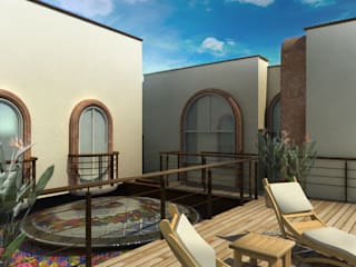 RESIDENCIAL LAS CASCADAS: Terrazas de estilo  por WAYAK' ARQUITECTOS