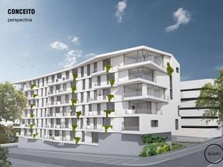 MJARC - Arquitetos Associados, lda Casas multifamiliares Hormigón Blanco