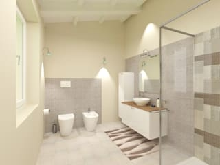 Bianco e Luce per l'open space Bagno moderno di TOBEHOME INTERIORS Moderno