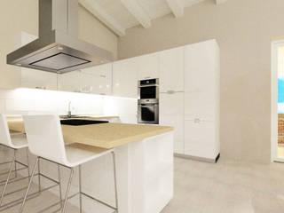 Bianco e Luce per l'open space Cucina moderna di TOBEHOME INTERIORS Moderno