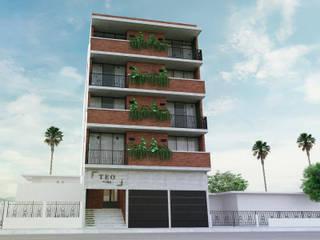 Fachada : Condominios de estilo  por Amereida Arquitectos