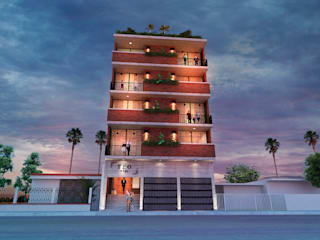 Fachada e iluminación: Condominios de estilo  por Amereida Arquitectos