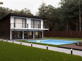 Экстерьерная визуализация частного дома с бассейном от Александр Таран