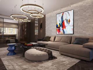 インダストリアルデザインの リビング の GLAZOV design group концептуальная студия дизайна интерьеров インダストリアル