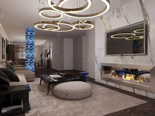 인더스트리얼 거실 by GLAZOV design group концептуальная студия дизайна интерьеров 인더스트리얼
