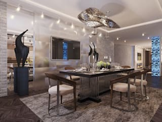 Industrial style dining room by GLAZOV design group концептуальная студия дизайна интерьеров Industrial