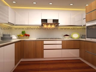 U SHAPE KITCHEN :   by DLIFE Home Interiors,