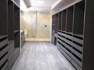 Idee diseño & mobiliario Ruang Ganti Minimalis Kayu Buatan Wood effect