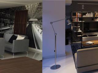 Idee diseño & mobiliario Ruang Keluarga Minimalis Aluminium/Seng Metallic/Silver