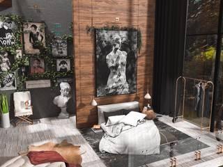 3d iç mekan tasarımları Eklektik Yatak Odası Interıart Factory Eklektik