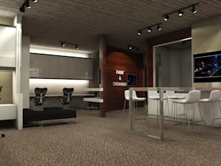 Project : งานออกแบบตกแต่ง สำนักงาน อาคารภิรัชบุรี แอท เอ็มควอเทียร์: ทันสมัย  โดย Hip and Classic Design Studio, โมเดิร์น
