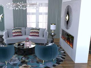 Projecto 3D Sala Salas de estar modernas por Hortelã Pimenta Interiores Moderno