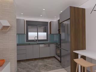 28 Dairelik Binanın iç mekan tasarım ve uygulama projesi ASN İç Mimarlık Küçük Mutfak Ahşap Ahşap rengi