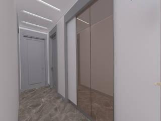 28 Dairelik Binanın iç mekan tasarım ve uygulama projesi ASN İç Mimarlık Modern Koridor, Hol & Merdivenler Gri