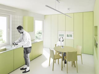 Mieszkanie 4 elementów Nowoczesna kuchnia od OBIEKT Nowoczesny
