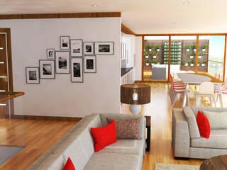 Simulação 3D da zona da sala e cozinha: Salas de estar  por Reprojeta