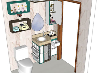AP Arquitetura Ecoeficiente BathroomMedicine cabinets Wood Turquoise