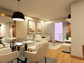 Diseño de Sala-Comedor:  de estilo  por Lucero Pardo M. - Diseñadora de Interiores