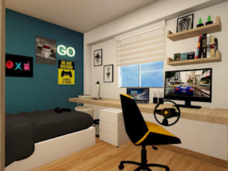 Dormitorio para Renzo: Cuartos pequeños  de estilo  por Lucero Pardo M. - Diseñadora de Interiores