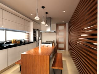 Proyecto de visualización Casa -Condominio Filadelfia (Ibagué - Tolima) Taller 3M Arquitectura & Construcción Cocinas pequeñas Madera Acabado en madera