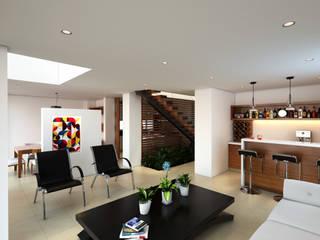 Proyecto de visualización Casa -Condominio Filadelfia (Ibagué - Tolima) Taller 3M Arquitectura & Construcción Salas de estilo ecléctico Contrachapado Blanco