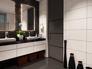 Proyecto de visualización Casa -Condominio Filadelfia (Ibagué - Tolima) Taller 3M Arquitectura & Construcción Baños de estilo ecléctico Cerámico Blanco