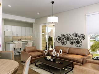 Living room by Yantram Architectural Design Studio