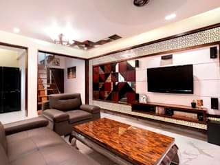 Apartment Interiors at Porvorim Goa:  Living room by Finch Architects
