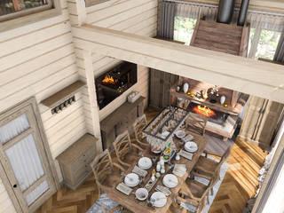 Salas / recibidores de estilo  por Проектно-строительная компания УралДеко, Rural