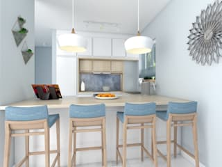 Biała kuchnia na wysoki połysk z drewnianym blatem i  z niebieskimi akcentami. : styl , w kategorii Kuchnia zaprojektowany przez Format Joanna Sobieska