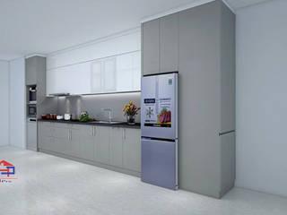 Tủ bếp acrylic kết hợp laminate nhà chú Hải ở CC Ngoại Giao Đoàn Nội thất Hpro KitchenCabinets & shelves Grey
