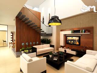Proyecto unidade de vivienda (Saldaña - Tolima) Taller 3M Arquitectura & Construcción Salas de estilo ecléctico Contrachapado Blanco