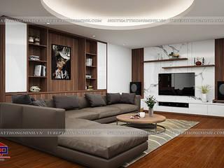 Thi công thiết kế nội thất phòng khách và phòng ngủ gỗ công nghiệp An Cường nhà anh Phương ở Thanh Hóa Nội thất Hpro Living roomCupboards & sideboards Multicolored