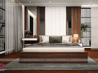 Thi công thiết kế nội thất phòng khách và phòng ngủ gỗ công nghiệp An Cường nhà anh Phương ở Thanh Hóa: hiện đại  by Nội thất Hpro, Hiện đại