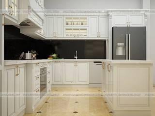 Công trình tủ bếp tân cổ điển nhà anh Hoàn – Lạng Sơn Nội thất Hpro KitchenCabinets & shelves White