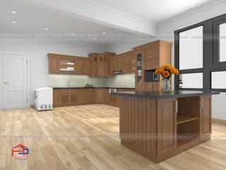 Công trình tủ bếp gỗ sồi nga nhà chị Tuyết – phường Thịnh Lang – Tp Hòa Bình Nội thất Hpro KitchenCabinets & shelves Wood effect