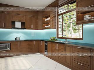 Công trình tủ bếp gỗ sồi mỹ nhà anh Huy – Mai Dịch Nội thất Hpro KitchenCabinets & shelves Wood effect