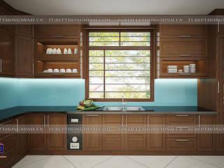 Công trình tủ bếp gỗ sồi mỹ nhà anh Huy – Mai Dịch: hiện đại  by Nội thất Hpro, Hiện đại