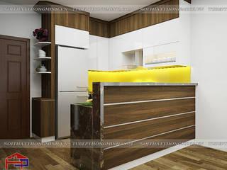 Công trình tủ bếp laminate nhà chú Việt – P2021 tòa S1 chung cư Sapphire Tp.Hạ Long Nội thất Hpro KitchenCabinets & shelves Multicolored