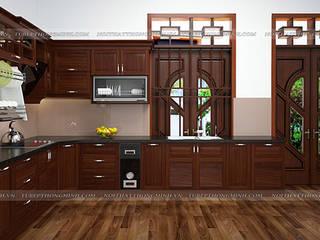 Công trình tủ bếp gỗ hương nhà cô Vân – phường Đông Thọ – Tp. Thanh Hoá Nội thất Hpro KitchenCabinets & shelves Wood effect