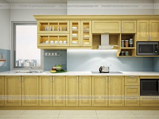 Hoàn thiện tủ bếp gỗ sồi nga nhà anh Phương – Ngoại Giao Đoàn : hiện đại  by Nội thất Hpro, Hiện đại
