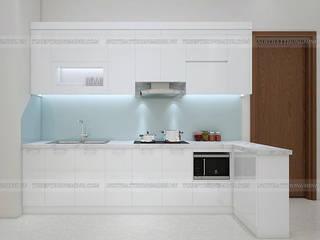 Hoàn thiện công trình tủ bếp acrylic và nội thất gỗ công nghiệp An Cường nhà chị Hiền Tòa L3 – CC Ciputra Nội thất Hpro KitchenCabinets & shelves White