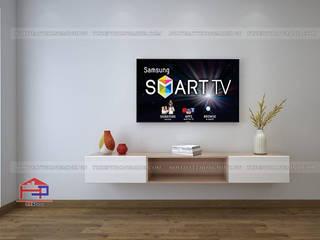 Hoàn thiện công trình tủ bếp acrylic và nội thất gỗ công nghiệp An Cường nhà chị Hiền Tòa L3 – CC Ciputra Nội thất Hpro Living roomTV stands & cabinets White