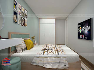 Hoàn thiện công trình tủ bếp acrylic và nội thất gỗ công nghiệp An Cường nhà chị Hiền Tòa L3 – CC Ciputra Nội thất Hpro BedroomWardrobes & closets Metallic/Silver