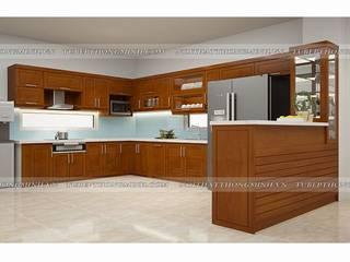 Tủ bếp gỗ xoan đào có quầy bar bếp sang trọng nhà anh Cường- Đông Anh: hiện đại  by Nội thất Hpro, Hiện đại
