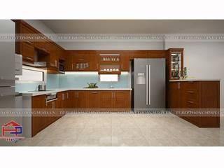 Tủ bếp gỗ xoan đào có quầy bar bếp sang trọng nhà anh Cường- Đông Anh Nội thất Hpro KitchenCabinets & shelves Yellow