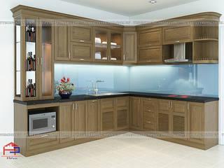 Công trình tủ bếp gỗ sồi mỹ tự nhiên nhà chị Thúy Anh ở Mậu Lương Nội thất Hpro KitchenCabinets & shelves Brown