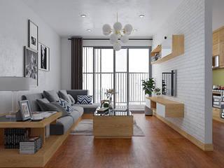 Tủ bếp gỗ sồi nga và nội thất gỗ tự nhiên nhà chị Mai ở ở CC HD Mon Nội thất Hpro Living roomTV stands & cabinets Wood effect